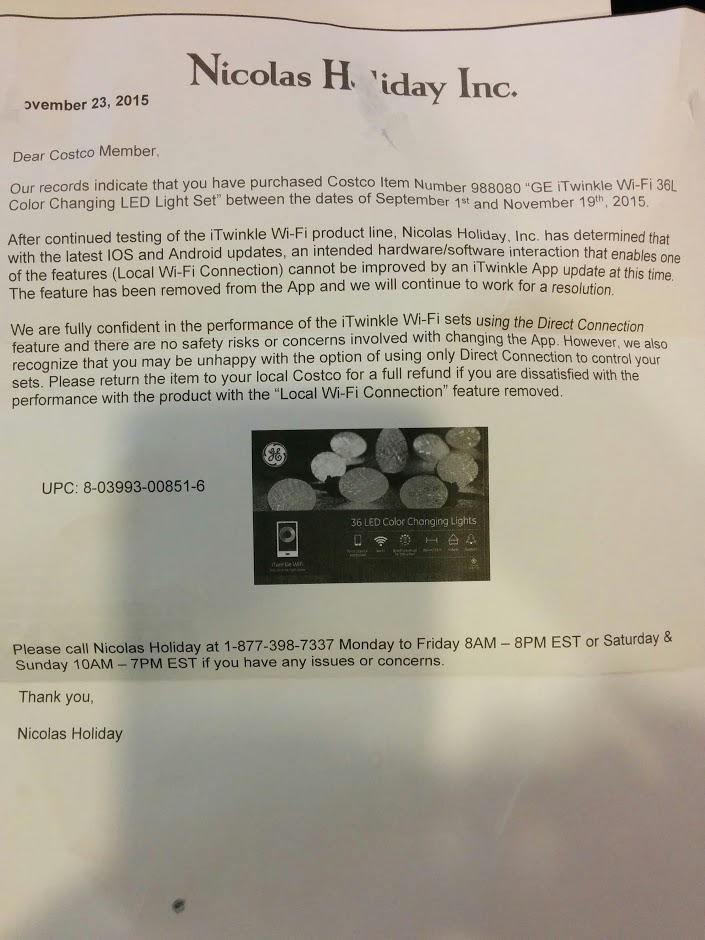 Costco's bug notice